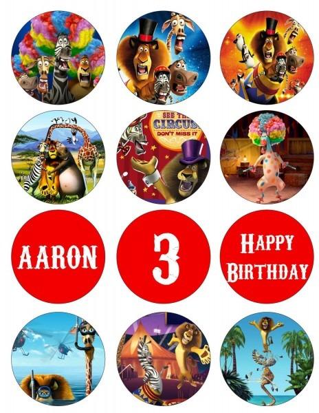 Madagascar 3 Digital Printable Birthday Party Cupcake Toppers