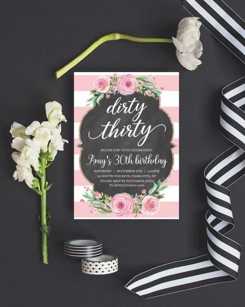 Printable 30th Birthday Invitation Printable, Dirty 30 Invitations