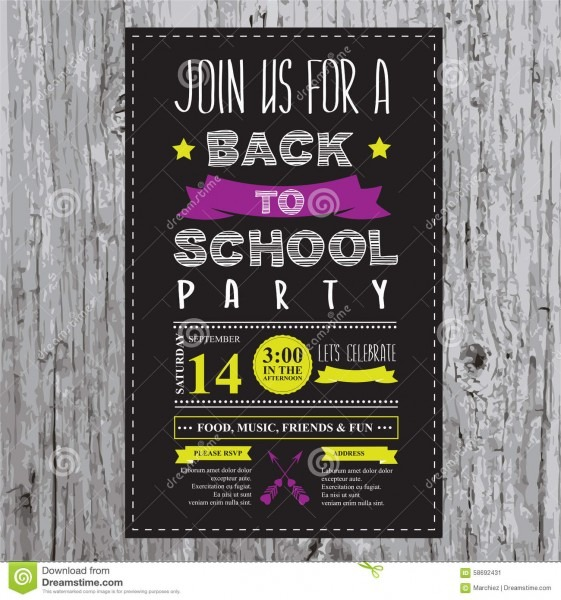 Back To School Party Invitation  Stock Vector