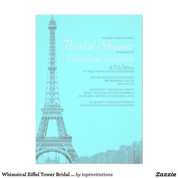 Whimsical Eiffel Tower Bridal Shower Invitations