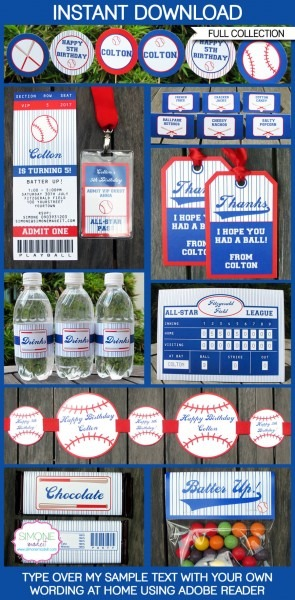 Baseball Party Printables, Invitations & Decorations