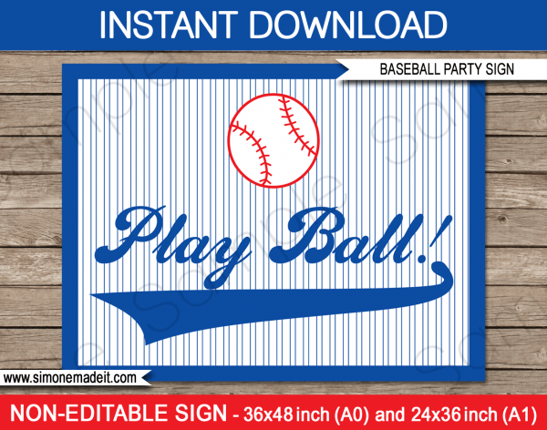 Baseball Party Backdrop Sign
