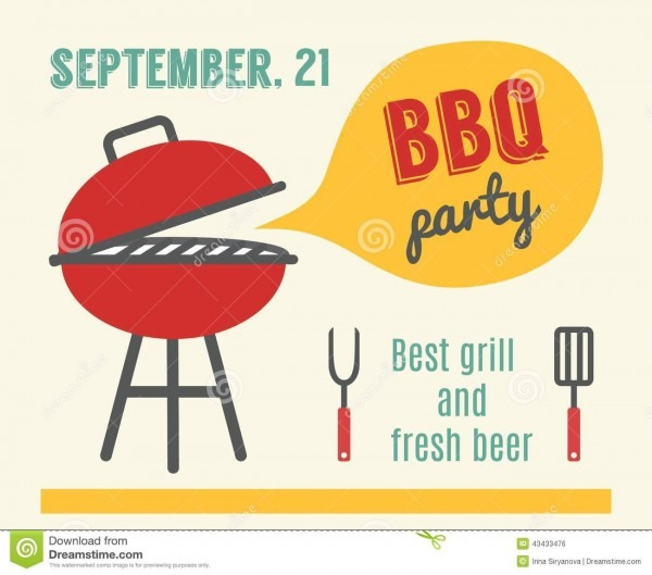 Bbq Party  Barbeque And Grill Cooking  Flat Design Stock Vector
