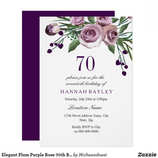 Elegant Plum Purple Rose 70th Birthday Invitation