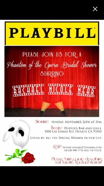 Phantom Of The Opera, Bridal Shower, Party, Invitation 101