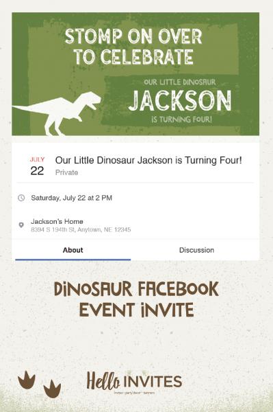 Dinosaur Birthday Facebook Event Invitation Green Brown Dirt Boy
