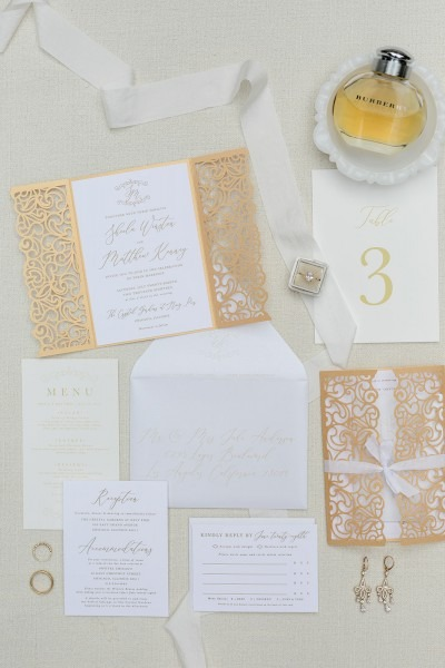 Luxurious Gold And White Wedding Invitation + Stationery In