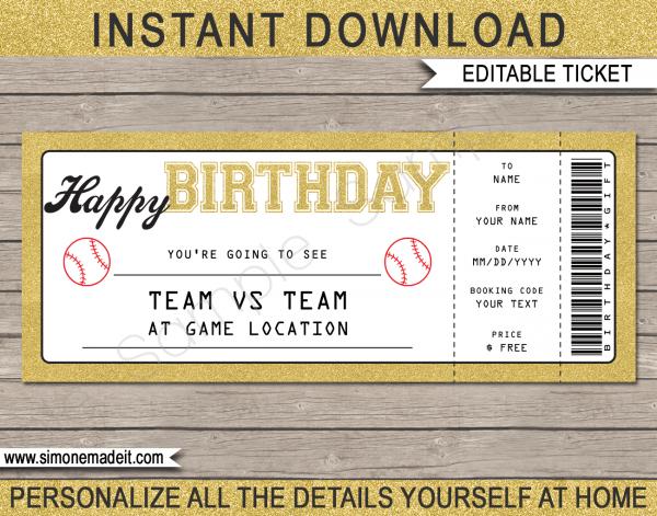 Printable Baseball Game Ticket