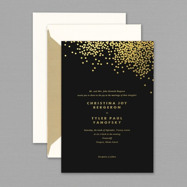 Black Gold Wedding Invitations Vera Wang Gold Confetti Engraved