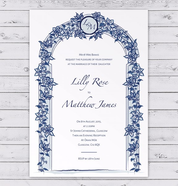 Blue Floral Arch Wedding Invitation With Clematis Flowers