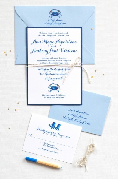 Blue Crab Nautical Wedding Invitations
