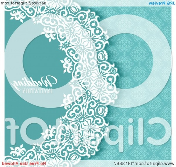 Blue White And Turquoise Damask Floral Wedding Invitation