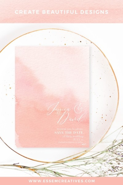 Blush Watercolor Ombres Background For Wedding Invitations