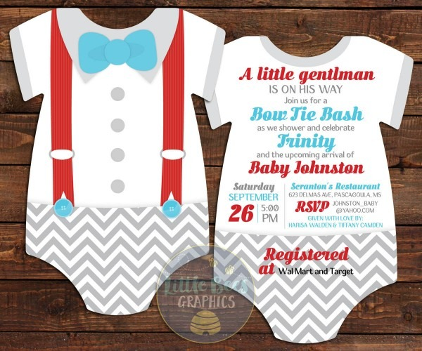 Baby Shower Invitations Templates Bow Tie Baby Shower Invitations
