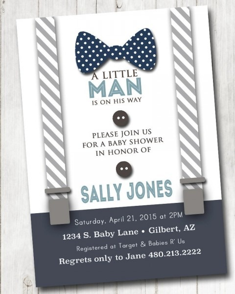 Boy Baby Shower Invitation With Bow Tie And Suspenders Burlap How