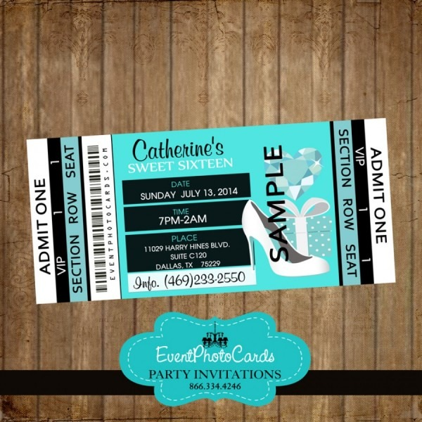 Breakfast At Tiffany Sweet 16 Invitations