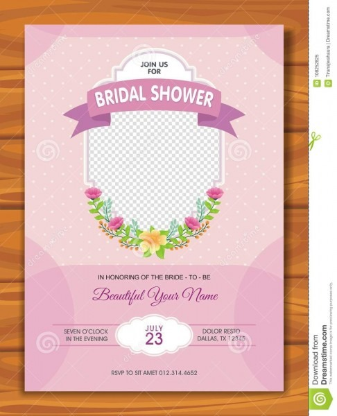 Bridal Shower Invitation With Lovely Design Stock Vector
