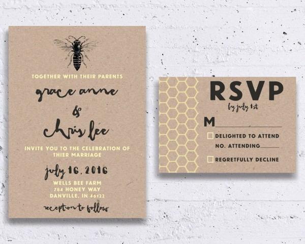 Bumble Bee Wedding Invitations Honey Bee Wedding Invitations, Bee