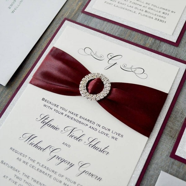 Burgundy And Silver Wedding Invitations Cheap Bulk Wedding