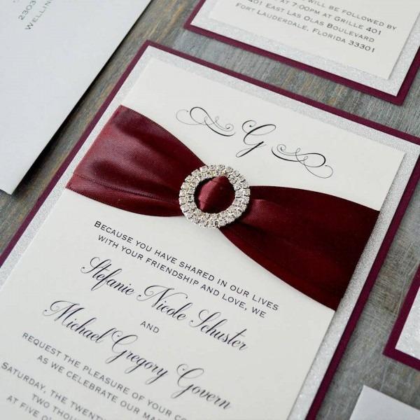 Burgundy And Silver Wedding Theme Cheap Bulk Wedding Invitations