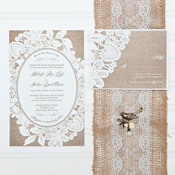 Burlap And Lace Wedding Invitation Suite, Custom Invites, Budget