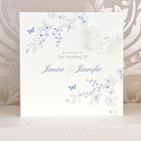 Butterfly Garden Pocketfold Wedding Invitation