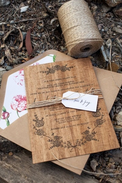 Dana + Matt's Rustic Floral Wood Veneer Wedding Invitaions