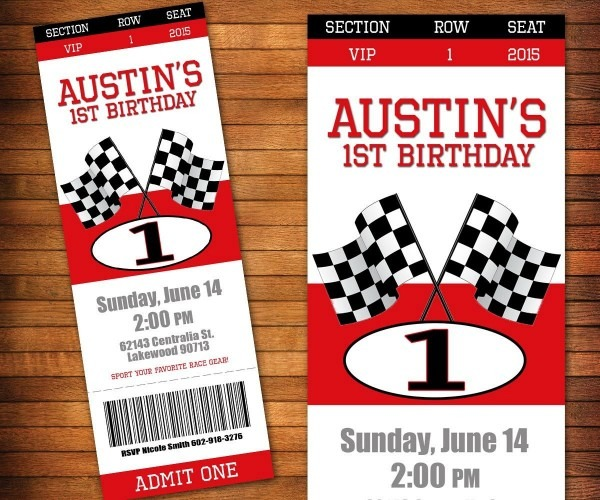 Racing Invitation, Racing Party, Pit Pass Ticket, Race Car