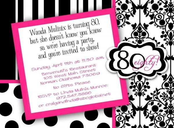Free Print 80th Birthday Invitations