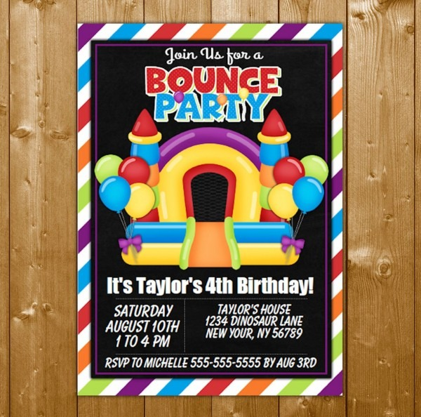 Bounce House Party Invitation Printable Digital Download Girl