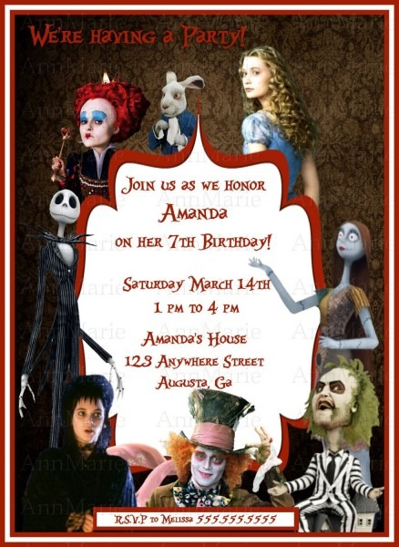 Tim Burton Themed Birthday Party Invitation With Nightmare B4