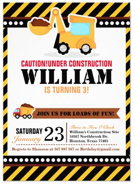 Under Construction Birthday Party Invitation In 2019