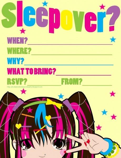 Harujuku Cool Crazy Funky Sleepover Party Invitation Teens