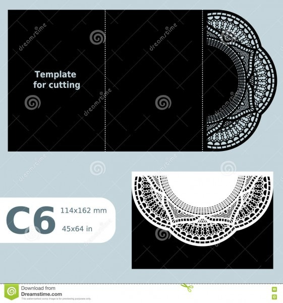 C6 Paper Openwork Greeting Card, Template For Cutting, Lace