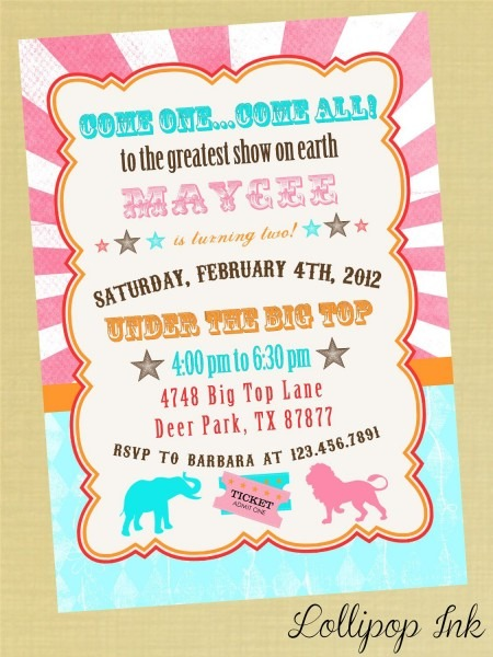 Vintage Circus Bright Birthday Invitation, Pink Circus Carnival