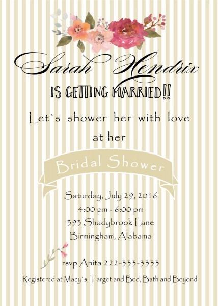 Bridal Custom Handmade Cards Invitation Wedding Shower Invite