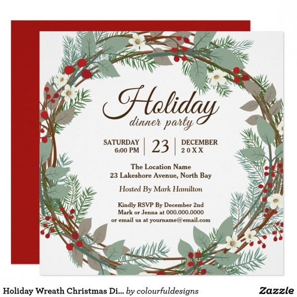Holiday Wreath Christmas Dinner Party Invitation