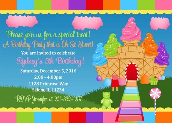 Candyland Birthday Invitation