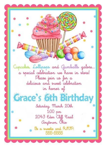 Candyland Birthday Invitations Wording