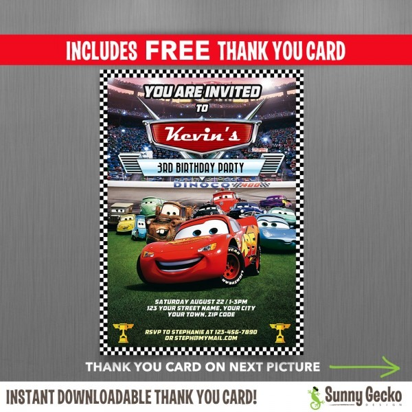 Cars Invitations With Free Thank You Card X New Lightning Mcqueen