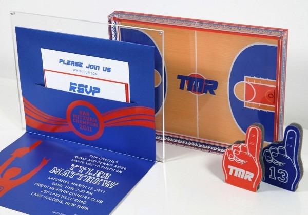 A Basketball Themed Bar Mitzvah Invitation  The Custom Acrylic Box