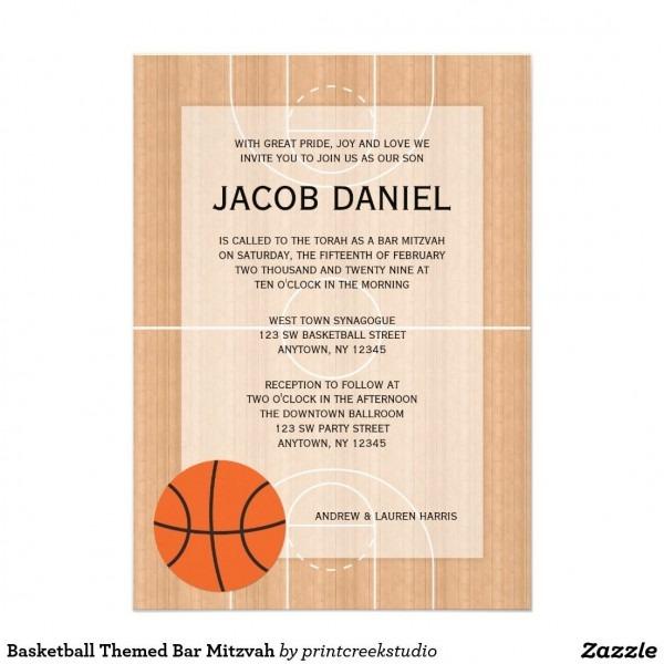 Basketball Themed Bar Mitzvah Invitation