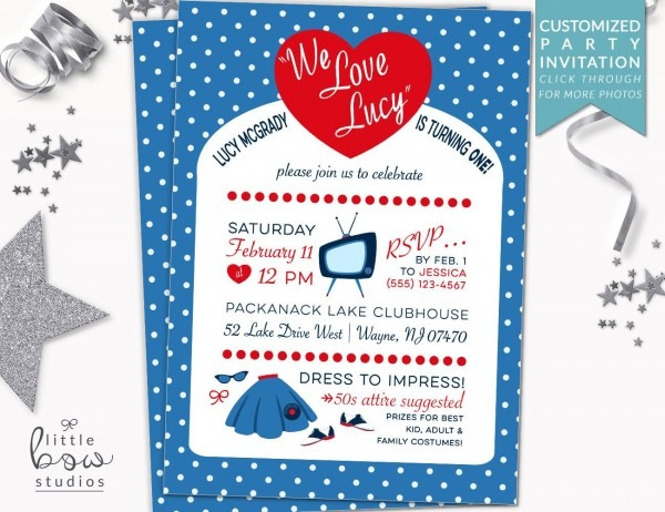 I Love Lucy Printable Invitation, 50s First Birthday Party