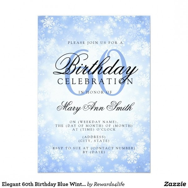 Elegant 60th Birthday Blue Winter Wonderland Invitation