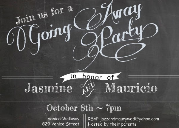 Chalkboard Theme Going Away Party Invite Idea