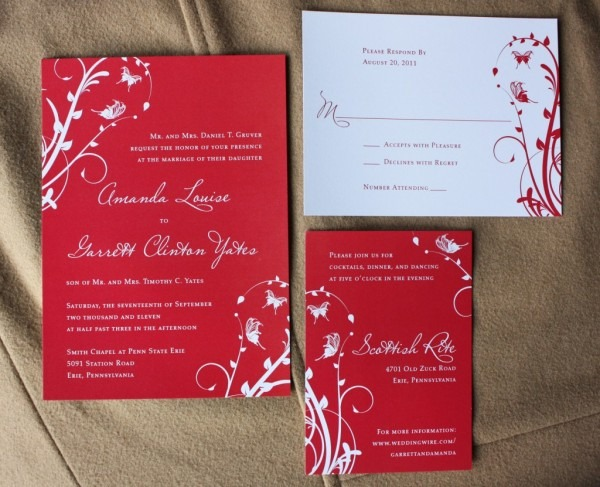 Chinese Themed Wedding Invitations Red White Swirly Vines With
