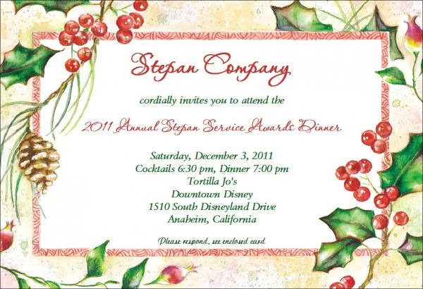 Christmas Party Invitations Sample