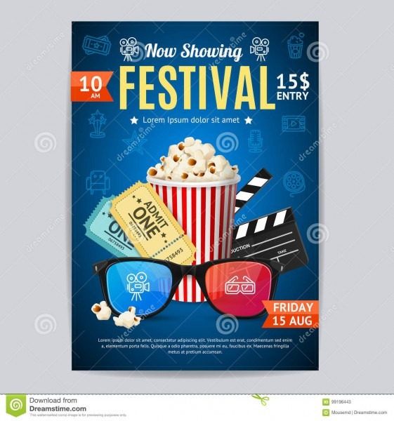 Cinema Movie Festival Poster Card Template  Vector Stock Vector