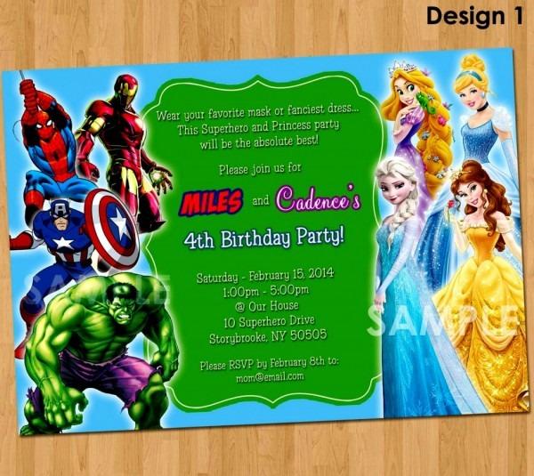 Beautiful Princess Superhero Birthday Party Invitations Invitation