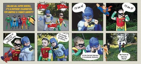 Happy Day Paperie  Batman & Robin Birthday Invite